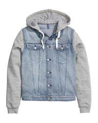 H&M   Blue Denim Jacket With A Hood for Men   Lyst