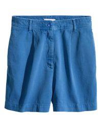 H&M | Blue Cotton Shorts | Lyst