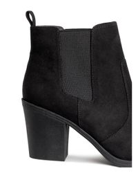 H&M - Black Suede Ankle Boots - Lyst