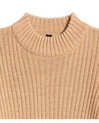 H&M - Natural Rib-knit Jumper - Lyst