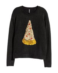 H&M Black Christmas Jumper With Sequins