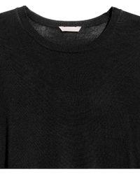H&M - Black + Fine-knit Jumper - Lyst