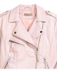 H&M - Pink + Biker Jacket - Lyst