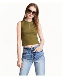 H&M - Green Cropped Top With A Zip - Lyst