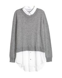 H&M - Gray Jumper With A Shirt Collar - Lyst