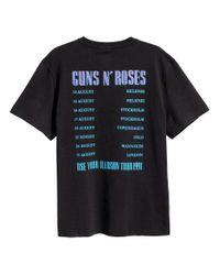 H&M - Black Printed T-shirt for Men - Lyst