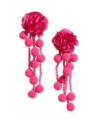 H&M - Pink Pompom Earrings - Lyst