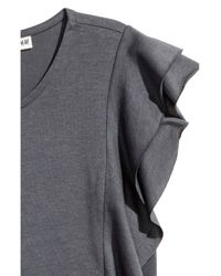 H&M - Gray Frilled Top - Lyst