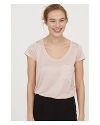 H&M - Pink Jersey Top - Lyst