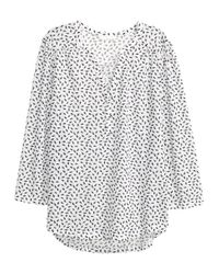 H&M - White Jersey Top - Lyst