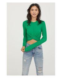 H&M - Green Short Jersey Top - Lyst
