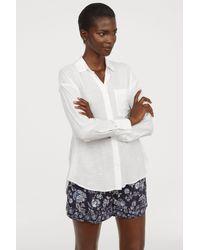 H&M - White Viscose-blend Shirt - Lyst