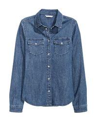 H&M | Blue Fitted Denim Shirt | Lyst