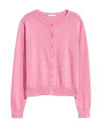 H&M - Pink Cotton Cardigan - Lyst