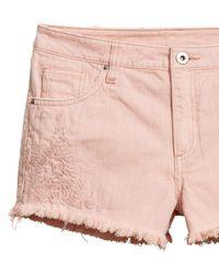 H&M - Pink Embroidered Denim Shorts - Lyst