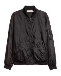 H&M Black Nylon Bomber Jacket for men