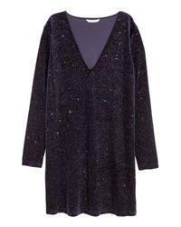 H&M - Blue Glittery Dress - Lyst