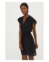 H&M - Black V-neck Dress - Lyst