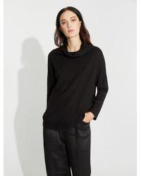Halston Heritage - Black Wool Blend Funnel Neck Sweater - Lyst
