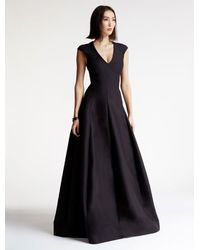 Halston Heritage | Black Cap Sleeve V Neck Silk Faille Gown | Lyst