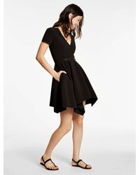 Halston   Black Bonded Crepe Structured Dress   Lyst