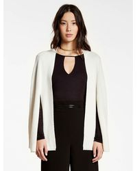 Halston | White Cashmere Blend Poncho Sweater Cardigan | Lyst