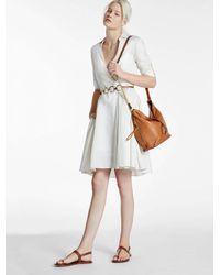 Halston   White Lurex Stripe Shirt Dress   Lyst