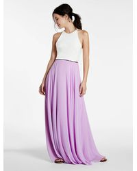Halston | Pink Color Blocked Crepe Georgette Combo Gown | Lyst