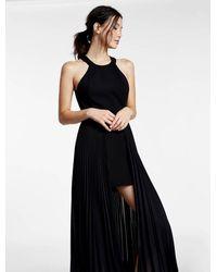 Halston   Black Crepe / Pleated Chiffon Combo Dress   Lyst