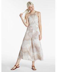 Halston Heritage - Natural Printed Cold Shoulder Crinkle Chiffon Jumpsuit - Lyst