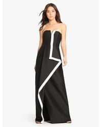 Halston | Black Strapless Color Blocked Structured Gown | Lyst