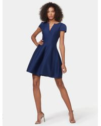 034945ea27be Halston Short Sleeve Notch Neck Dress With Tulip Skirt (navy ...