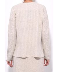 Pringle of Scotland - Natural Round Neck Long Sleeve Sweater In Oatmeal - Lyst