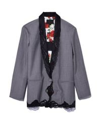 Alexander Wang | Gray Single Breasted Blazer With Lace Trim In Dove Grey | Lyst