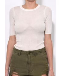 T By Alexander Wang - White Wash And Go Rib Short Sleeve Tee In Ivory - Lyst