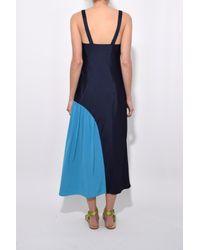 Tibi - Blue Color Block Slip Dress - Lyst