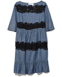 See By Chloé - Chambray Lace Dress In Moonlight Blue - Lyst