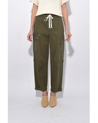 T By Alexander Wang - Green Garment Washed Cotton Twill Cargo Pant In Cargo - Lyst