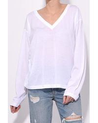 T By Alexander Wang - Superfine Jersey Deep V Tee In White - Lyst