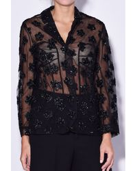 Simone Rocha | Blue Fitted Jacket With Star Flower Embroidery | Lyst