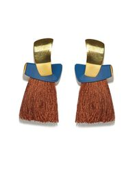Lizzie Fortunato - Blue Totem Tassel Earrings In Navy/sienna - Lyst