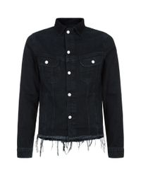 Officine Generale Black Raw Edge Denim Jacket for men