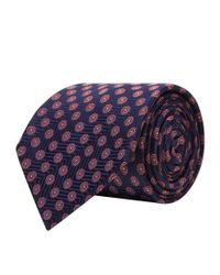 Turnbull & Asser - Blue Geometric Circle Silk Tie for Men - Lyst