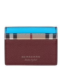 Burberry - Blue Two-tone Haymarket Check Card Holder - Lyst