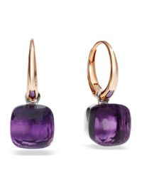 Pomellato | Purple Nudo Amethyst Rose Gold Earrings | Lyst