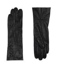 Harrods | Black Silk Lined Elasticated Leather Gloves | Lyst