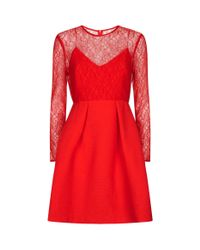Sandro Red Lace Top Skater Dress
