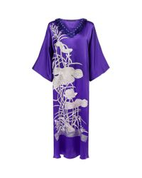 Natori - Blue Embroidered Split Silk Kaftan - Lyst