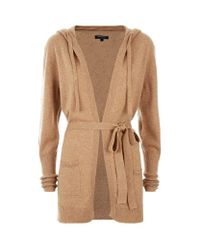 Harrods - Brown Hooded Cashmere Cardigan - Lyst
