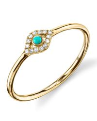 Sydney Evan | Metallic Turquoise Diamond Evil Eye Gold Ring | Lyst